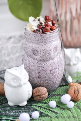 Peanut butter and jelly chia pudding